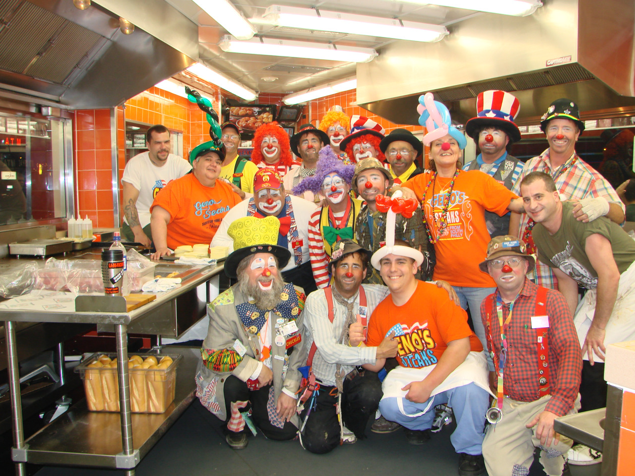 Ringling Brothers Clowns at Geno's Steaks