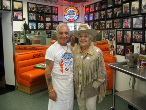 Sally Star at Geno's Steaks