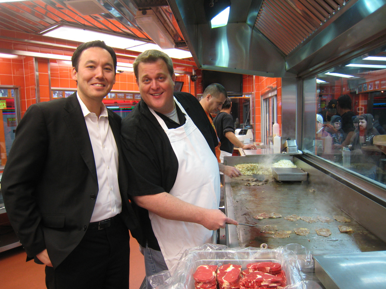 Steve Bryne and Billy Gardell at Geno's Steaks