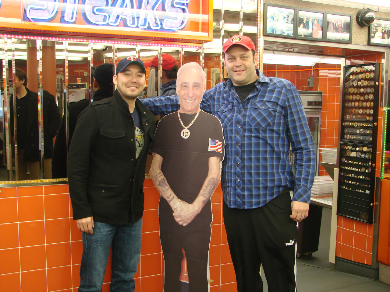 Steve Bryne and Vince Vaughn at Geno's Steaks