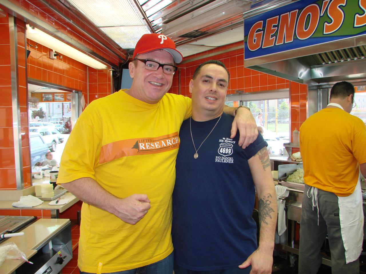 Tom Arnold at Geno's Steaks