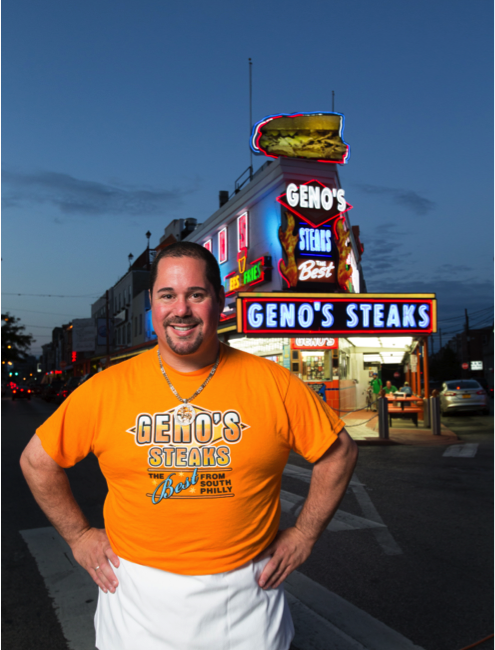 get a cheesesteak at geno's cheesesteaks