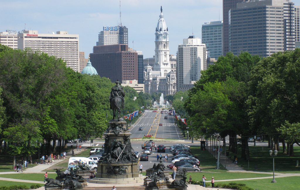 Grab a Philly cheesesteak and see the Ben Franklin Parkway