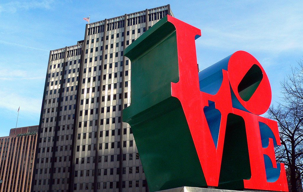 LOVE Park goes great with a famous philly cheesesteak