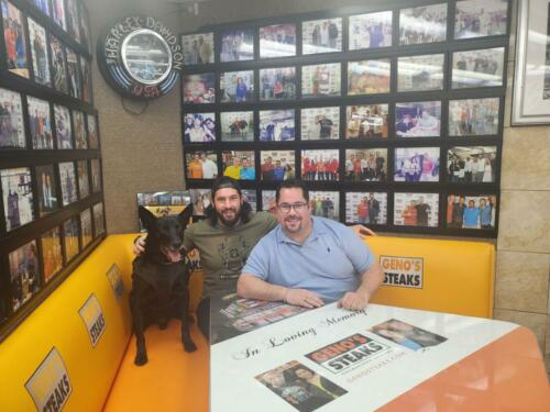 Hurricane and his handler Marshall Mirarchi inside Geno's
